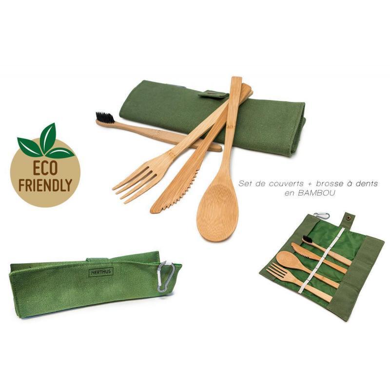 Set de couverts + brosse à dents bambou