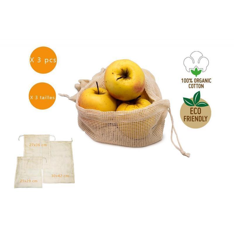 Ensemble de 3 sacs en coton biologique