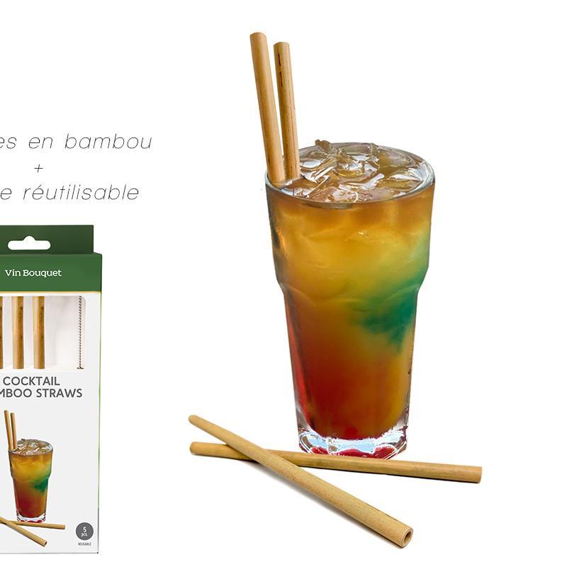 4 pailles bambou + brosse réutilisable