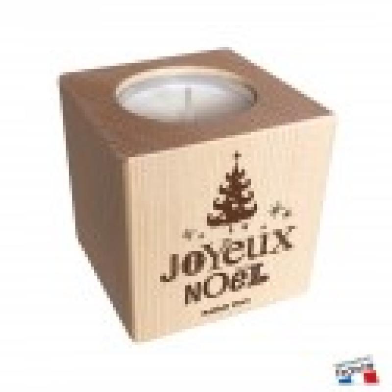 Bougeoir BOIS Cube Joyeux Noël